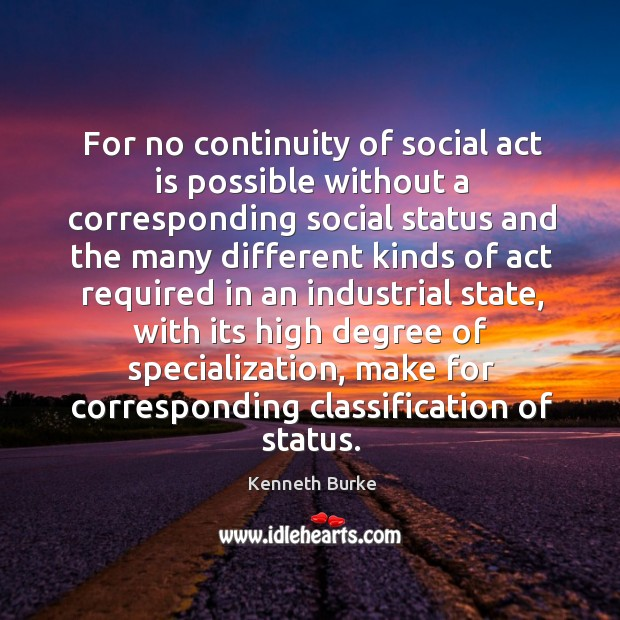 For no continuity of social act is possible without a corresponding social status and the many different Image