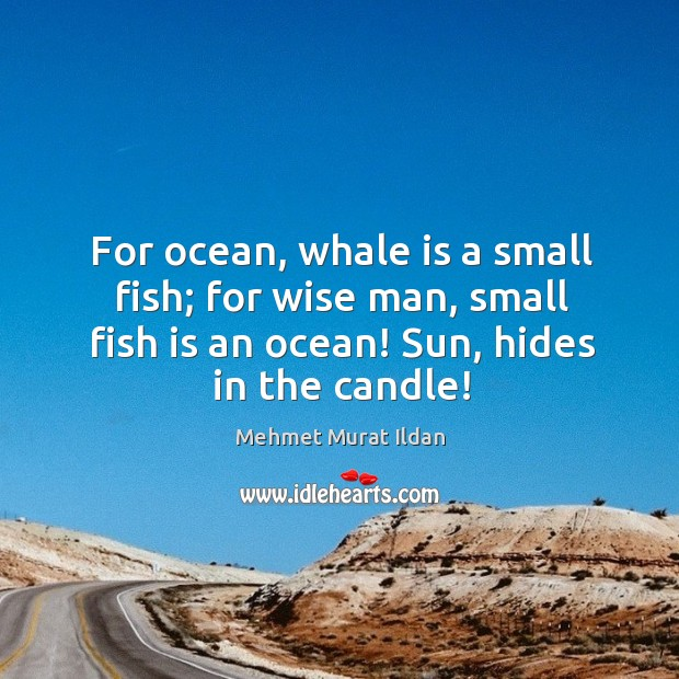 Image, For ocean, whale is a small fish; for wise man, small fish