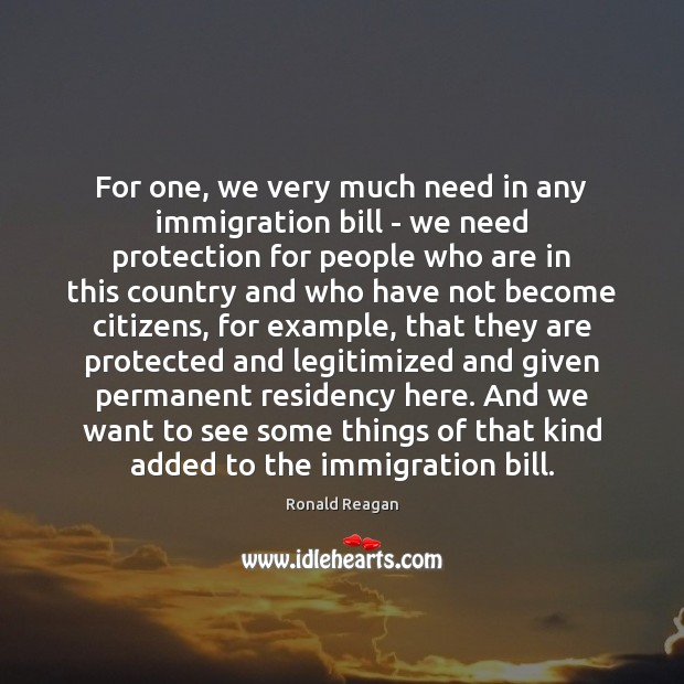 Image, For one, we very much need in any immigration bill – we