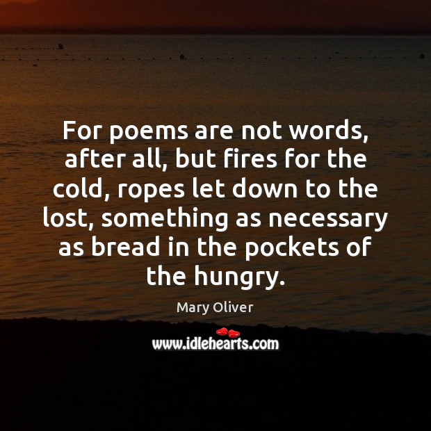 For poems are not words, after all, but fires for the cold, Mary Oliver Picture Quote