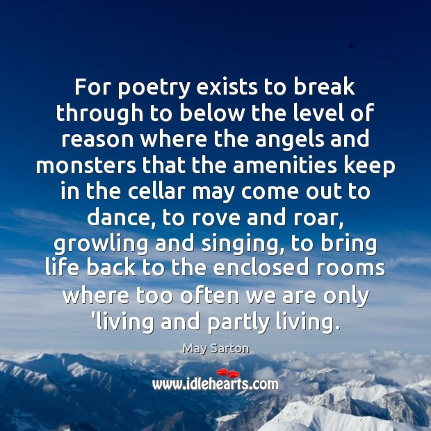For poetry exists to break through to below the level of reason May Sarton Picture Quote