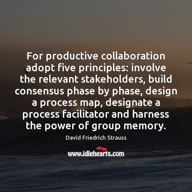 For productive collaboration adopt five principles: involve the relevant stakeholders, build consensus Image