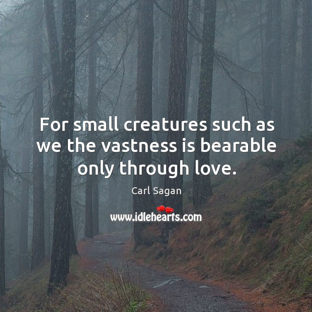 Image, For small creatures such as we the vastness is bearable only through love.