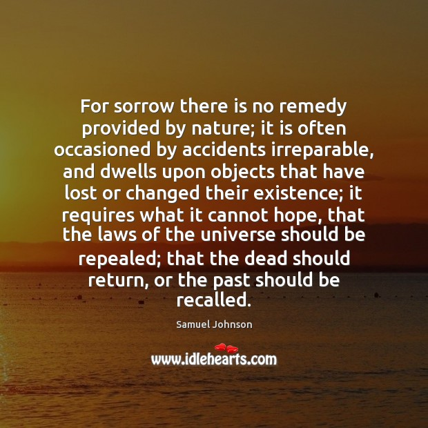 For sorrow there is no remedy provided by nature; it is often Image