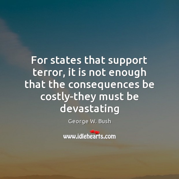 Image, For states that support terror, it is not enough that the consequences