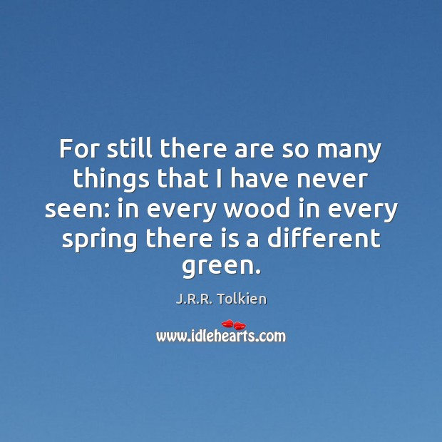 For still there are so many things that I have never seen: J.R.R. Tolkien Picture Quote