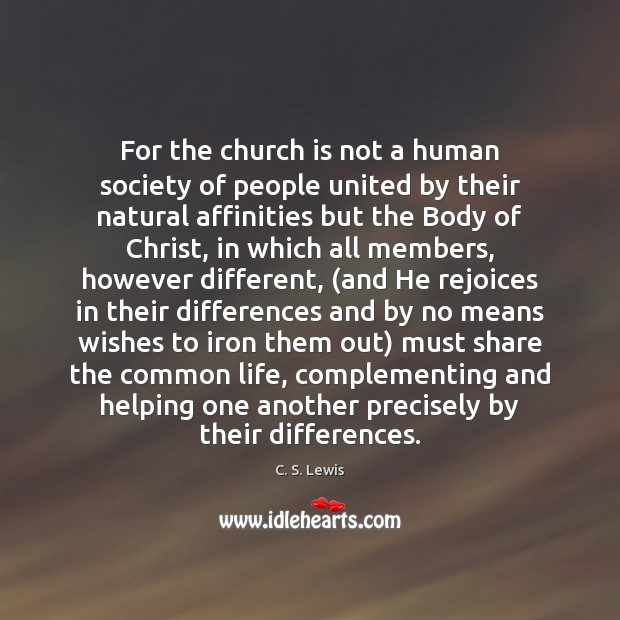 Image, For the church is not a human society of people united by
