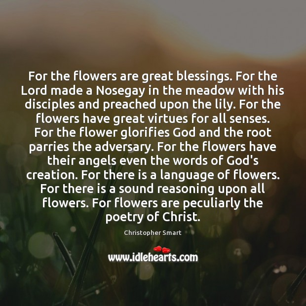 For the flowers are great blessings. For the Lord made a Nosegay Christopher Smart Picture Quote
