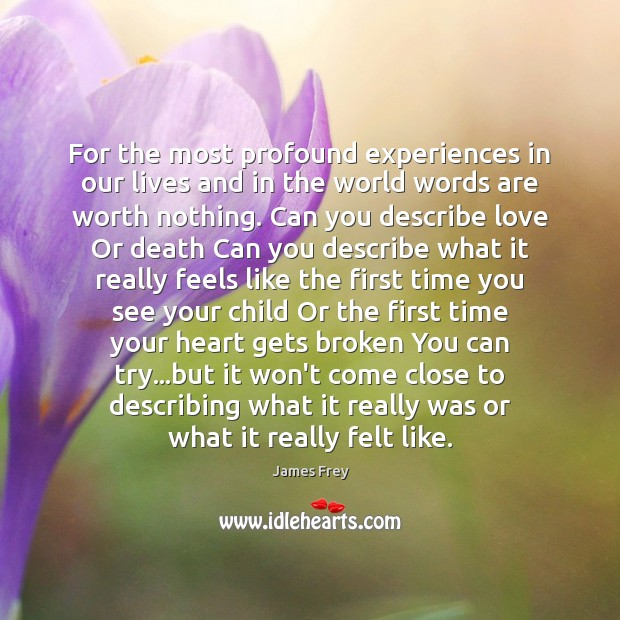 For the most profound experiences in our lives and in the world James Frey Picture Quote