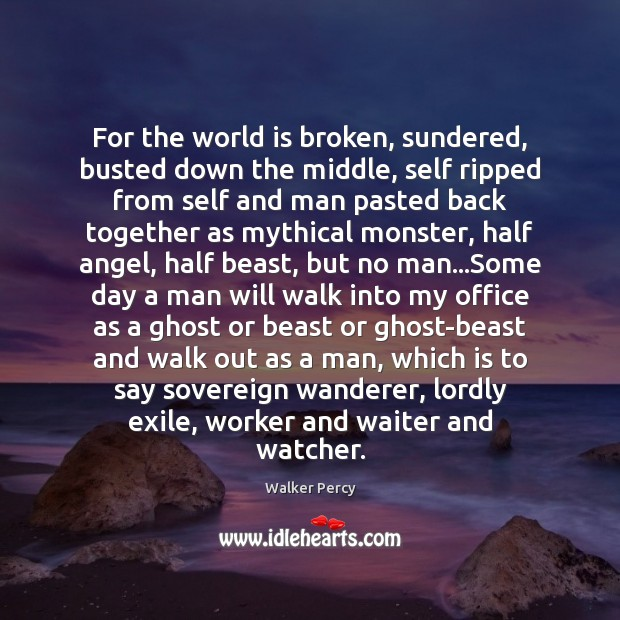 For the world is broken, sundered, busted down the middle, self ripped Walker Percy Picture Quote