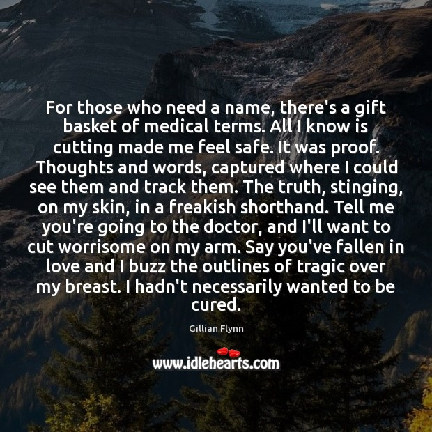 For those who need a name, there's a gift basket of medical Gillian Flynn Picture Quote