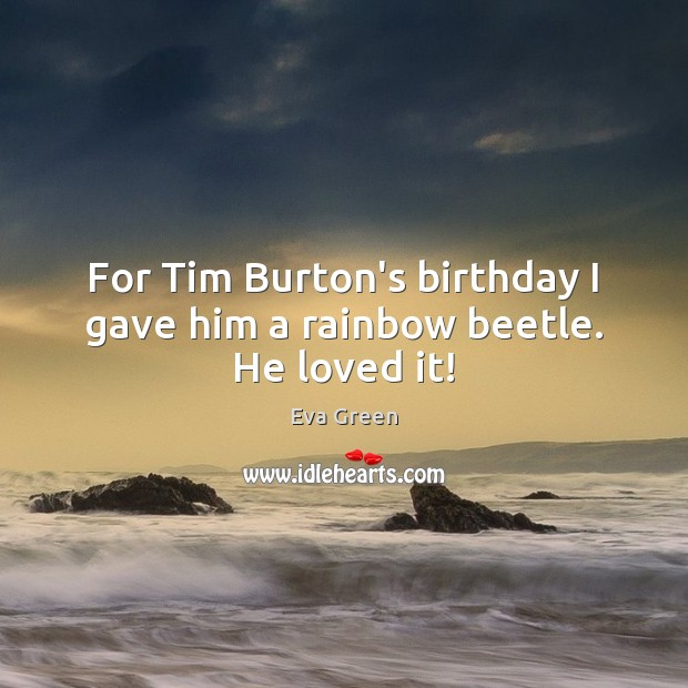 For Tim Burton's birthday I gave him a rainbow beetle. He loved it! Eva Green Picture Quote