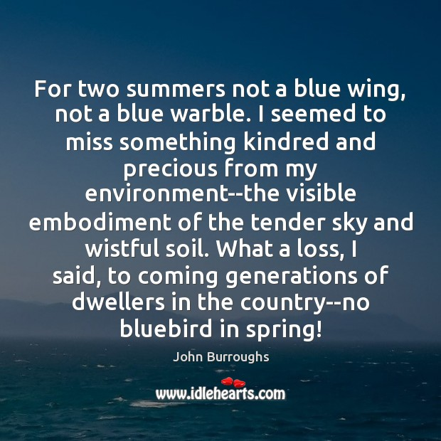 For two summers not a blue wing, not a blue warble. I Image