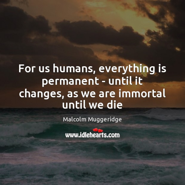 For us humans, everything is permanent – until it changes, as we are immortal until we die Image