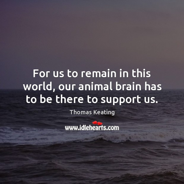 For us to remain in this world, our animal brain has to be there to support us. Thomas Keating Picture Quote