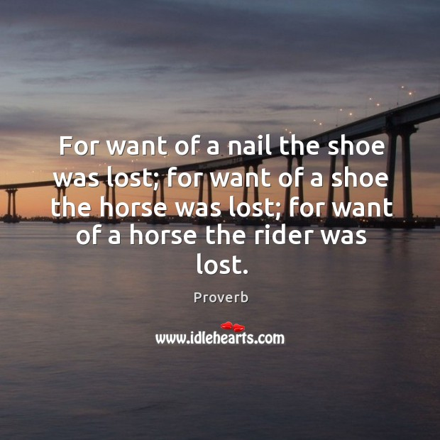 For want of a nail the shoe was lost; for want of a shoe the horse was lost Image