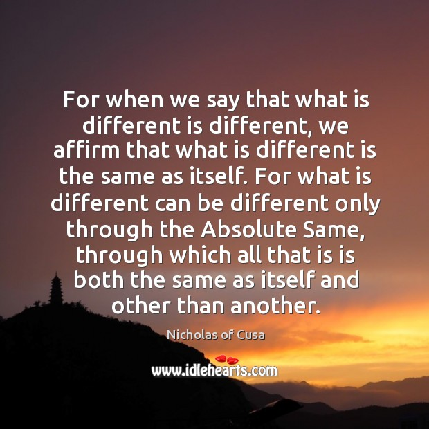 Image, For when we say that what is different is different, we affirm