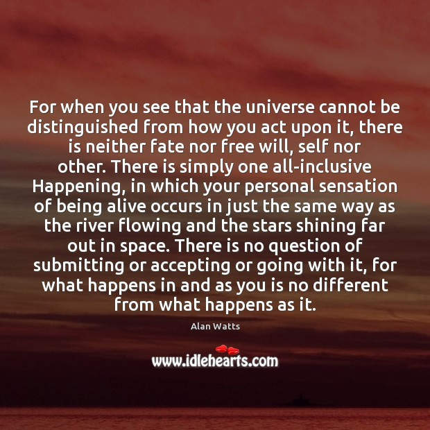 For when you see that the universe cannot be distinguished from how Alan Watts Picture Quote
