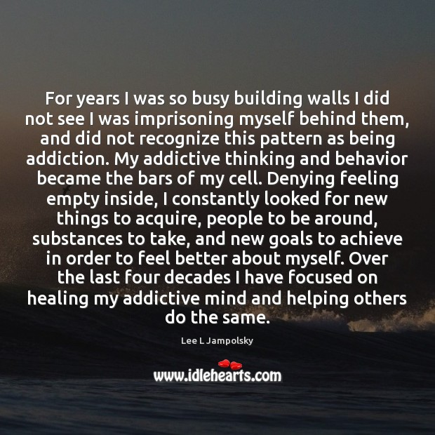 For years I was so busy building walls I did not see Lee L Jampolsky Picture Quote