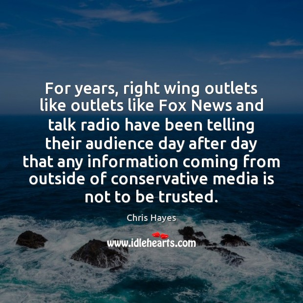 For years, right wing outlets like outlets like Fox News and talk Image