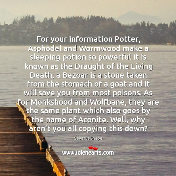 For your information potter, asphodel and wormwood make a. Image