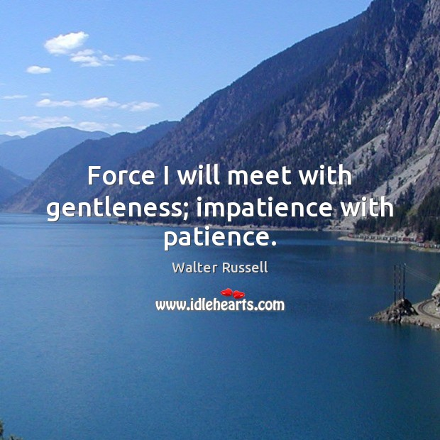 Force I will meet with gentleness; impatience with patience. Walter Russell Picture Quote