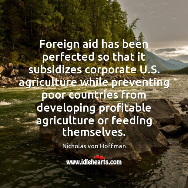 Foreign aid has been perfected so that it subsidizes corporate U.S. Image