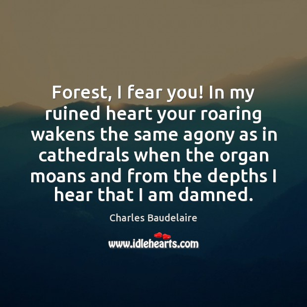 Forest, I fear you! In my ruined heart your roaring wakens the Image