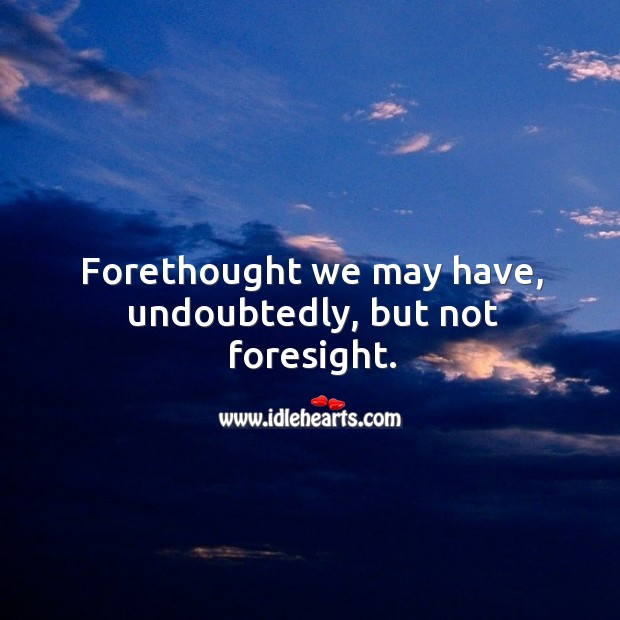 Forethought we may have, undoubtedly, but not foresight. Image