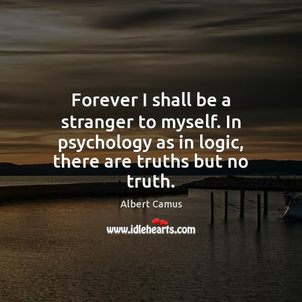 Forever I shall be a stranger to myself. In psychology as in Image