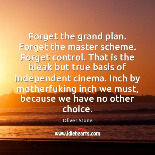 Forget the grand plan. Forget the master scheme. Forget control. That is Oliver Stone Picture Quote