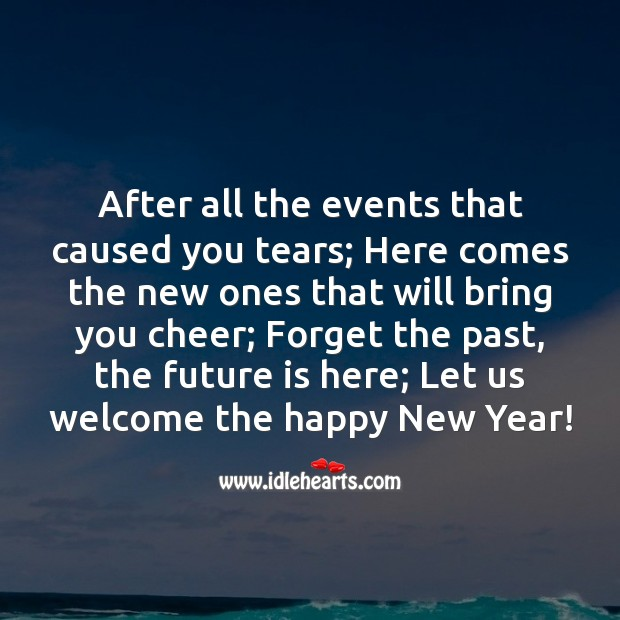 Forget the past, the future is here; Let us welcome the happy New Year! Future Quotes Image