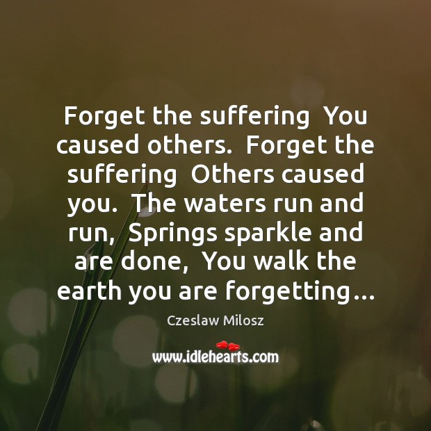 Forget the suffering  You caused others.  Forget the suffering  Others caused you. Czeslaw Milosz Picture Quote