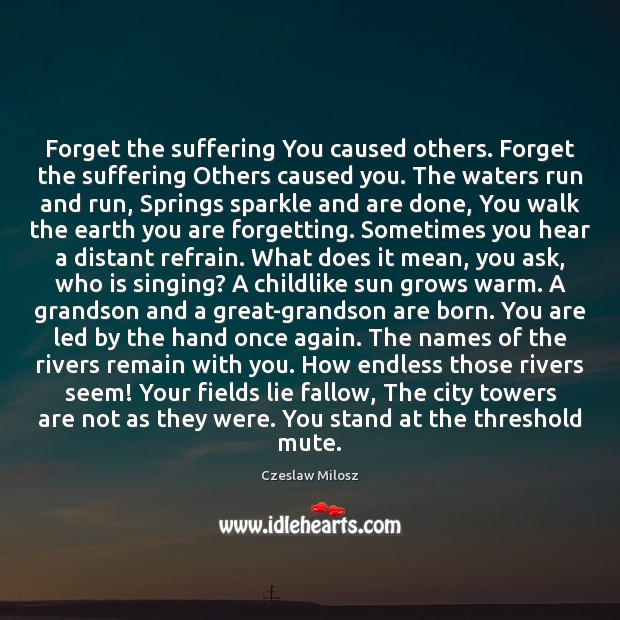 Forget the suffering You caused others. Forget the suffering Others caused you. Image