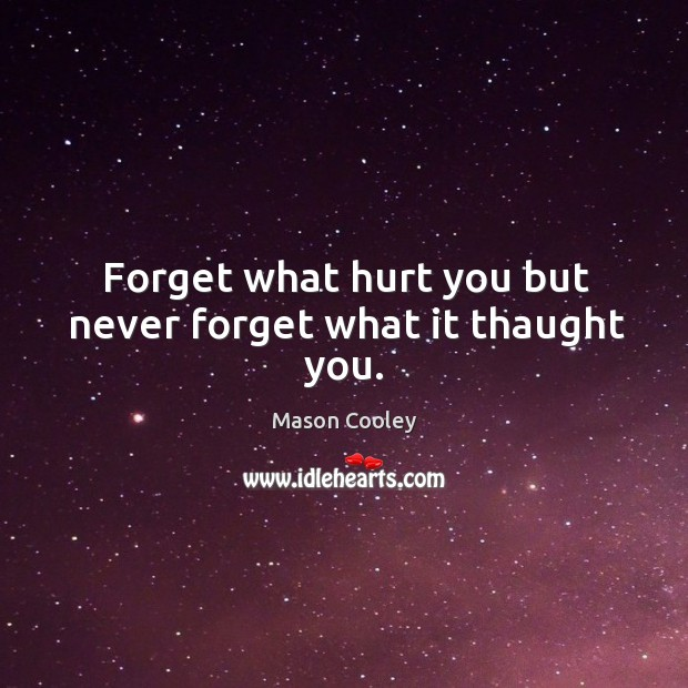 Image, Forget what hurt you but never forget what it thaught you.