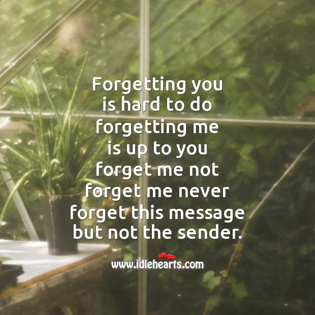 Forgetting you is hard to do Broken Heart Messages Image