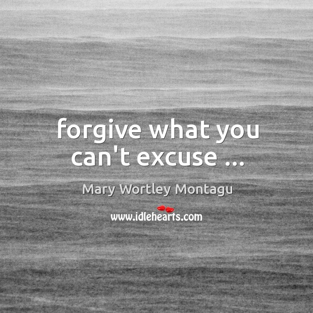 Forgive what you can't excuse … Mary Wortley Montagu Picture Quote