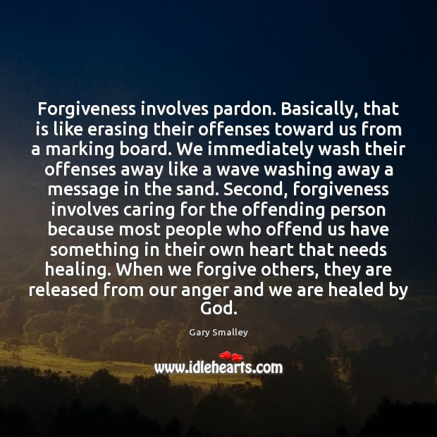 Forgiveness involves pardon. Basically, that is like erasing their offenses toward us Image