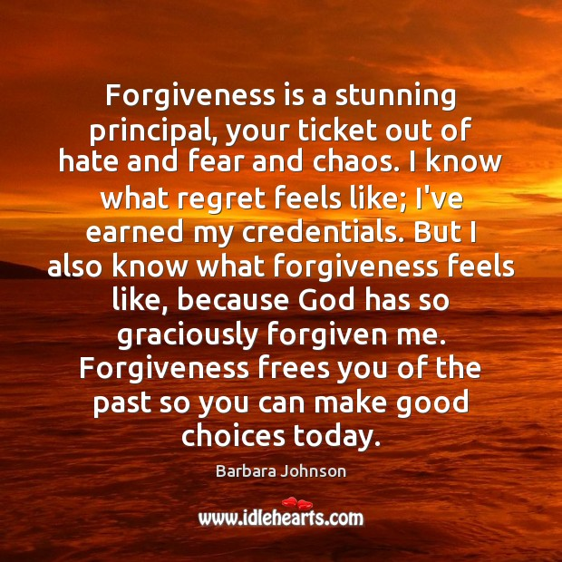 Forgiveness is a stunning principal, your ticket out of hate and fear Barbara Johnson Picture Quote