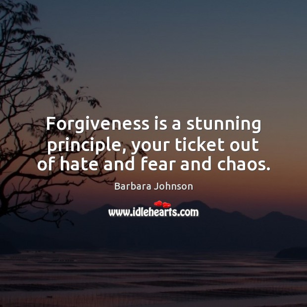 Forgiveness is a stunning principle, your ticket out of hate and fear and chaos. Barbara Johnson Picture Quote