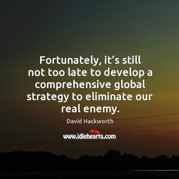 Fortunately, it's still not too late to develop a comprehensive global strategy to eliminate our real enemy. David Hackworth Picture Quote