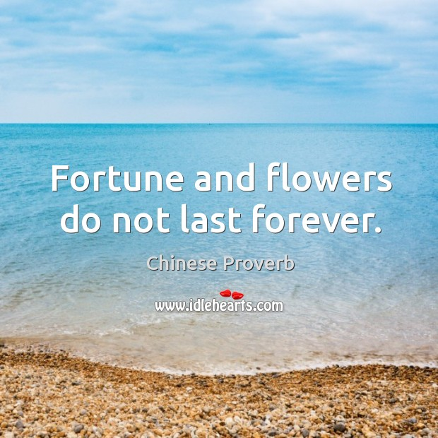 Image, Fortune and flowers do not last forever.