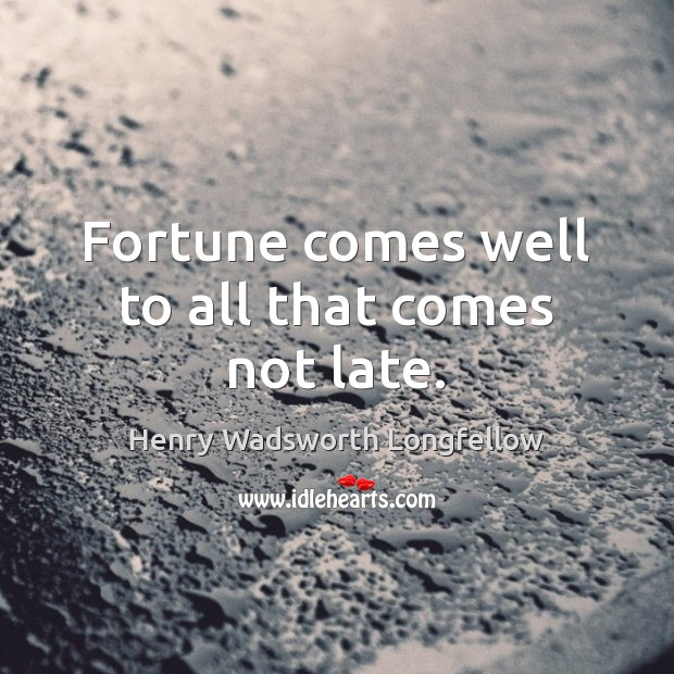 Image, Fortune comes well to all that comes not late.