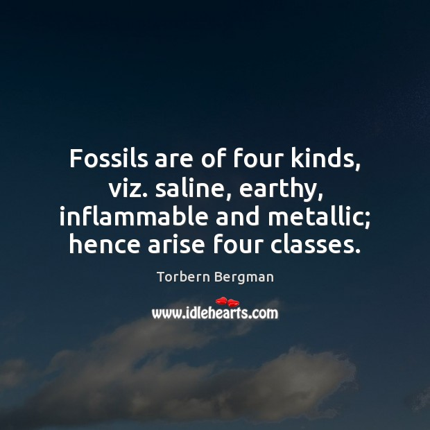 Fossils are of four kinds, viz. saline, earthy, inflammable and metallic; hence Image