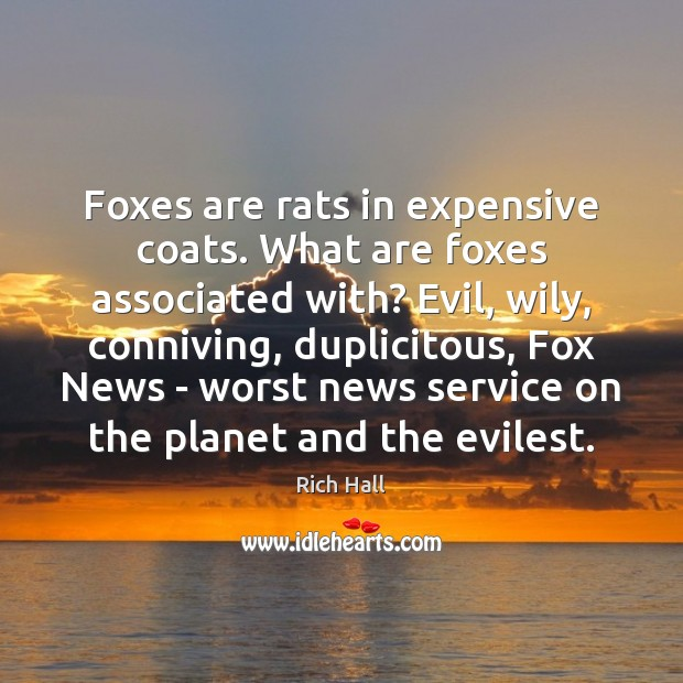 Foxes are rats in expensive coats. What are foxes associated with? Evil, Image