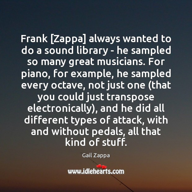 Frank [Zappa] always wanted to do a sound library – he sampled Image