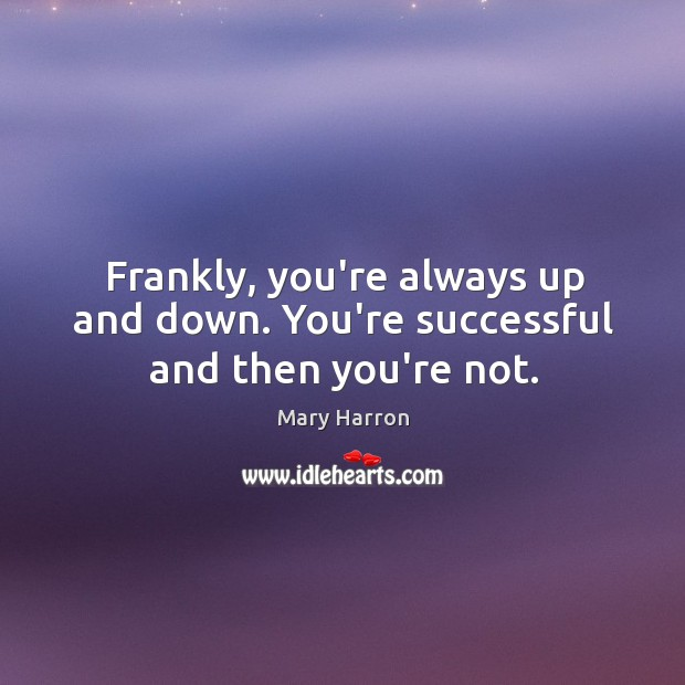Frankly, you're always up and down. You're successful and then you're not. Mary Harron Picture Quote