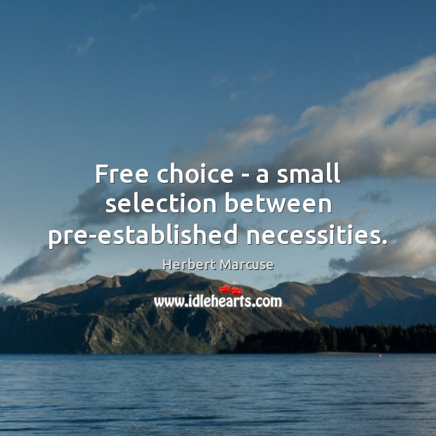 Free choice – a small selection between pre-established necessities. Herbert Marcuse Picture Quote