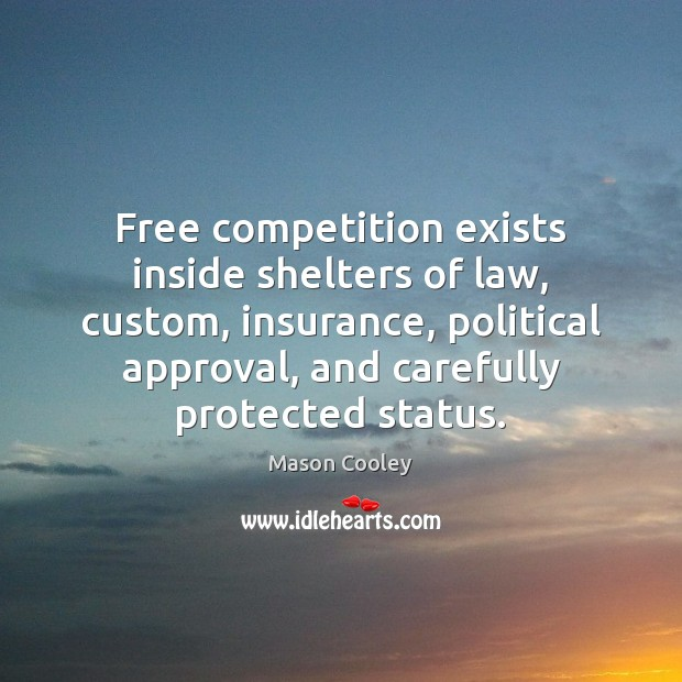 Image, Free competition exists inside shelters of law, custom, insurance, political approval, and