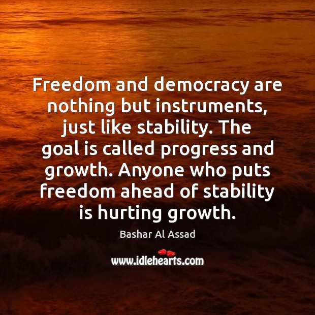 Freedom and democracy are nothing but instruments, just like stability. The goal Image